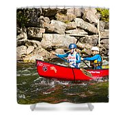 Two Women Paddling A Whitewater Canoe Shower Curtain
