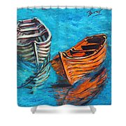 Two Wood Boats Shower Curtain by Xueling Zou