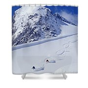 Two Young Men Skiing Untracked Powder Shower Curtain by Henry Georgi Photography Inc