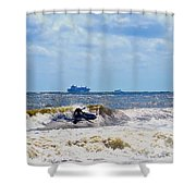 Tybee Island Kite Surfing Shower Curtain