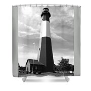 Tybee Island Lighthouse - Bw Shower Curtain