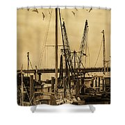 Tybee Island Shrimp Boats Shower Curtain