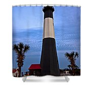 Tybee Light And Palms Shower Curtain