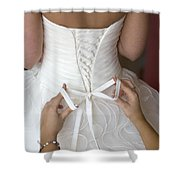Tying The Bow On A Wedding Dress Shower Curtain