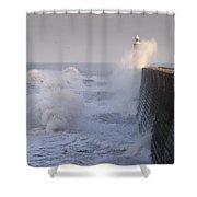 Tynemouth North Pier And Waves Shower Curtain