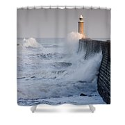 Tynemouth North Pier With Waves Shower Curtain