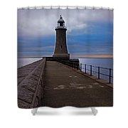 Tynemouth Pier Lighthouse Shower Curtain