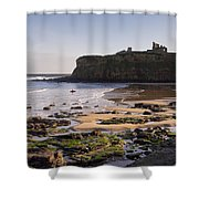 Tynemouth Priory And Castle Across King Edwards Bay Shower Curtain