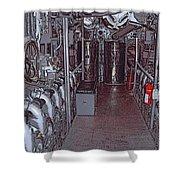 U S S Bowfin Submarine Engine Room Shower Curtain