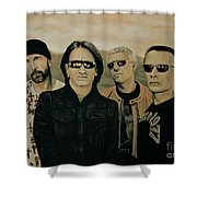 U2 Silver And Gold Shower Curtain