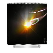 Ufo Banking For A Landing Shower Curtain