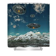 Ufos Flying Over A Mountain Range Shower Curtain