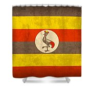 Uganda Flag Vintage Distressed Finish Shower Curtain