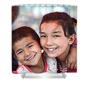 Uighur Children At Kashgar Market Xinjiang China Shower Curtain