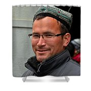 Uighur Man In Traditional Cap Smiles Shower Curtain