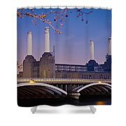 Uk, England, View Of Battersea Power Shower Curtain