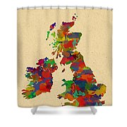 Uk Watercolor Map Shower Curtain