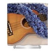 Ukulele And Blue Ribbon Lei Shower Curtain