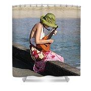 Ukulele Lady At Hanalei Bay Shower Curtain