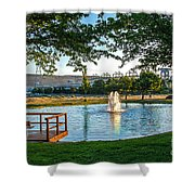 Umatilla Fountain Pond Shower Curtain by Robert Bales