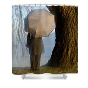 Umbrella And Tree Shower Curtain