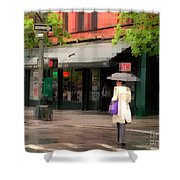The Purple Bag - New York City In The Rain Shower Curtain