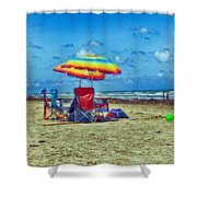 Umbrellas At The Beach Shower Curtain
