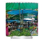 Umbrellas In The Marketplace In Tachilek-burma Shower Curtain