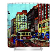 Umbrellas In The Rain Couples Stroll St.catherine Street Downtown Montreal Vintage  City Scene  Shower Curtain