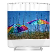Umbrellas On Sanibel Island Beach Shower Curtain