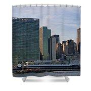 Un Buildings - Riverside Shower Curtain