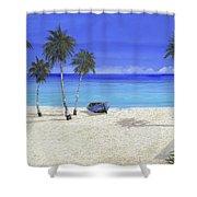 Una Barca Blu Shower Curtain