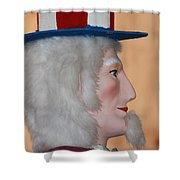 Uncle Sam Closeup Red White And Blue Shower Curtain