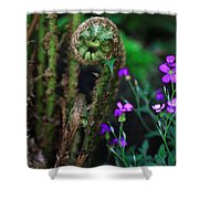Uncurling Fern And Flower Shower Curtain