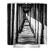 Under Huntington Beach Pier Black And White Picture Shower Curtain