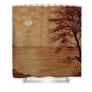 Under Moonlight Original Coffee Painting Shower Curtain
