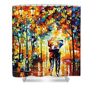 Under One Umbrella - Palette Knife Figures Oil Painting On Canvas By Leonid Afremov Shower Curtain
