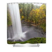 Under The Falls With Autumn Colors In Oregon Shower Curtain