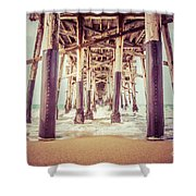 Under The Pier In Orange County California Picture Shower Curtain by Paul Velgos