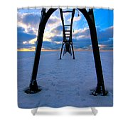 Under The Pier In St. Joseph At Sunset Shower Curtain