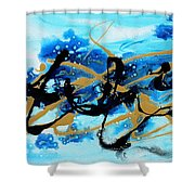 Under The Sea Original Abstract Blue Gold Painting By Madart Shower Curtain
