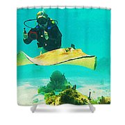 Underwater Photographer And Stingray Shower Curtain