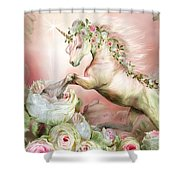 Unicorn And A Rose Shower Curtain