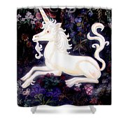 Unicorn Floral Shower Curtain by Genevieve Esson