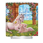 Unicorn Mother And Foal Shower Curtain
