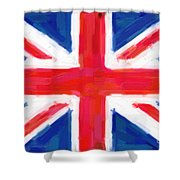 Union Jack Flag Painting Shower Curtain