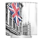 Union Jack Shower Curtain by Nancy Ingersoll