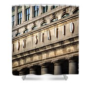 Union Station Chicago Sign And Building Shower Curtain