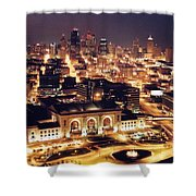 Union Station Night Shower Curtain by Crystal Nederman