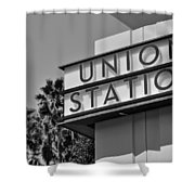 Union Station Sign Black And White Shower Curtain